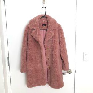 Topshop Pink Furry Coat